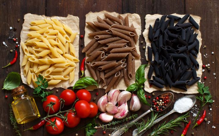 penne pasta with vegetables herbs and olive oil
