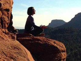 Meditating-on-a-mountain