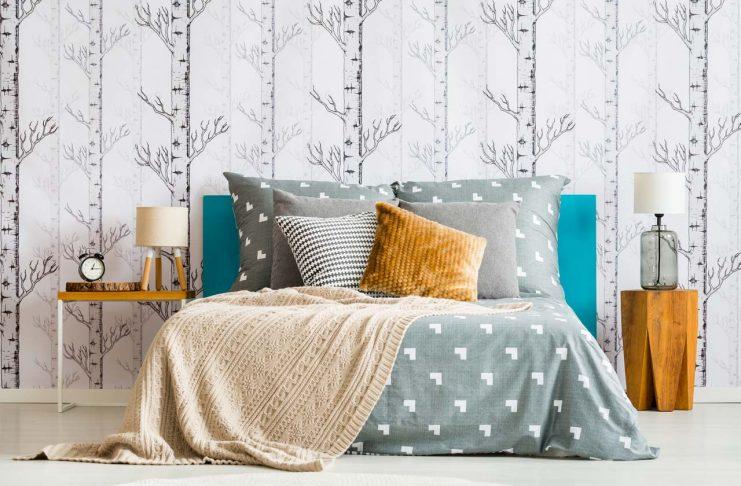Forest wallpaper in bedroom