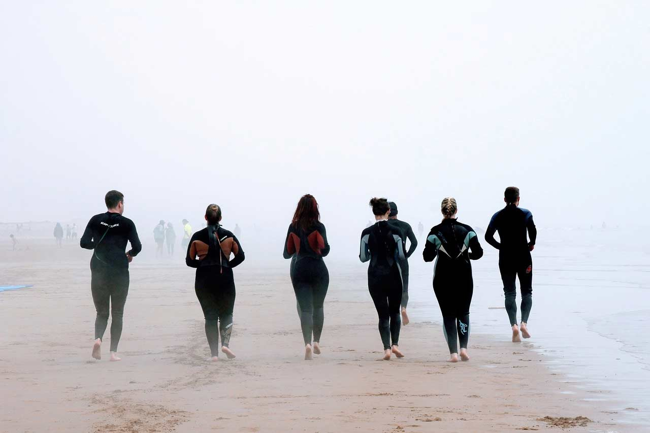 Group of friends jogging