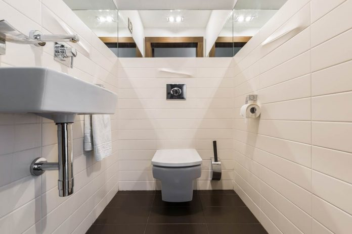 Minimalist bathroom with toilet and sink