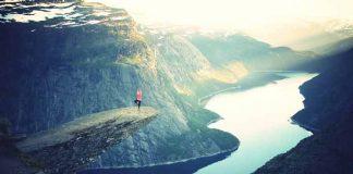 Yoga on a cliff