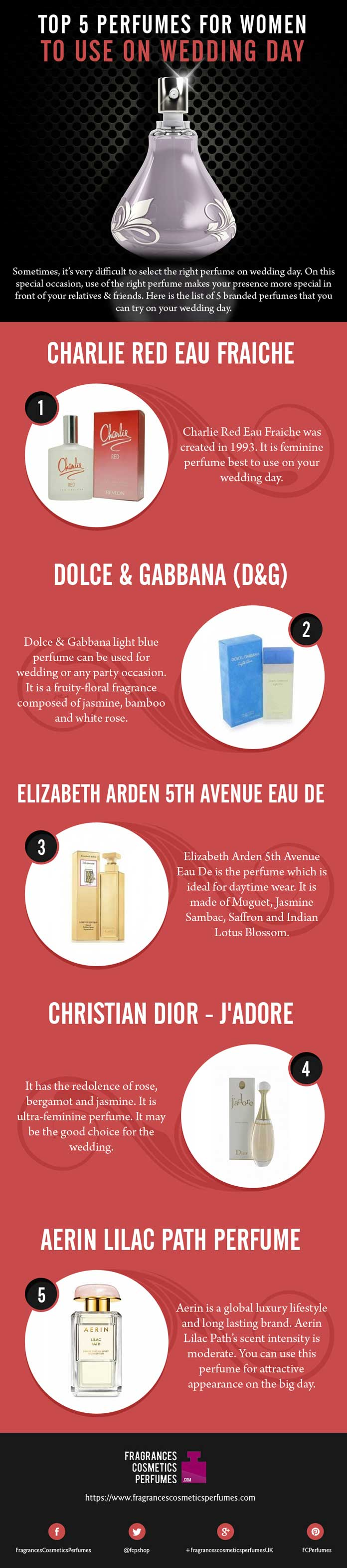 Top 5 Perfumes for women to use on wedding day