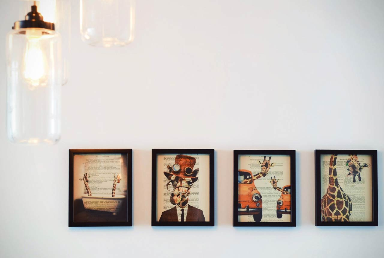 Photo frames on wall