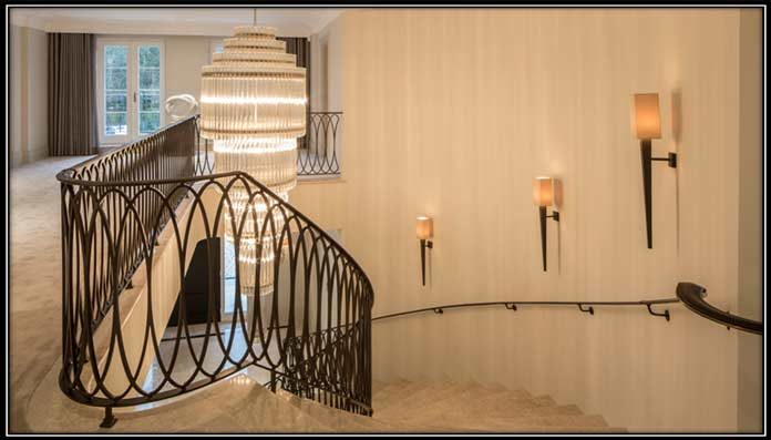 Chandelier on a staircase
