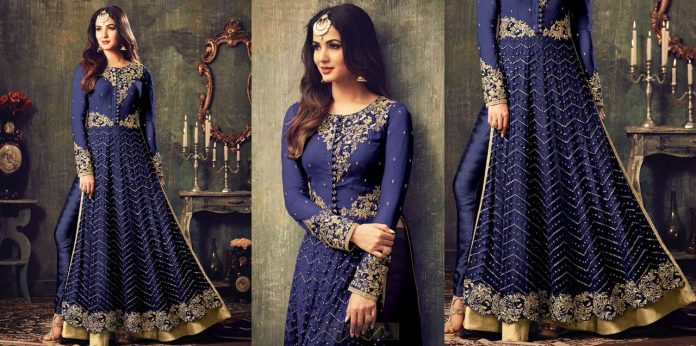 Royal Blue Embroidered Net Anarkali