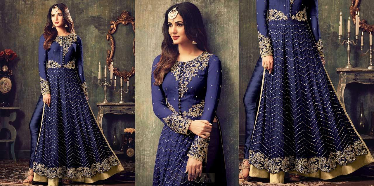 Royal Blue Embroidered Net Anarkali