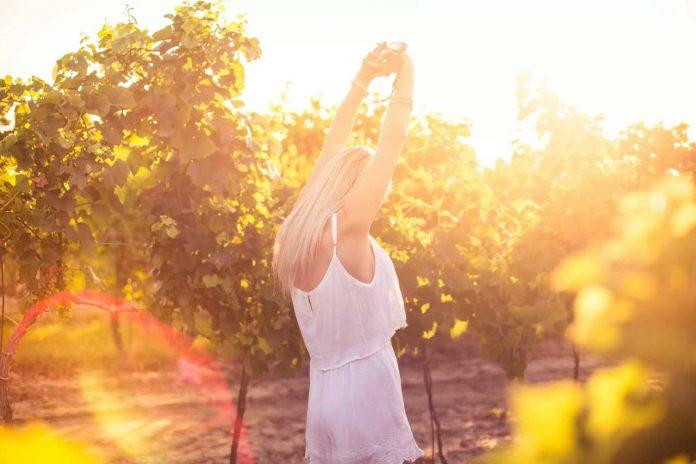 Young girl dancing in a vineyard
