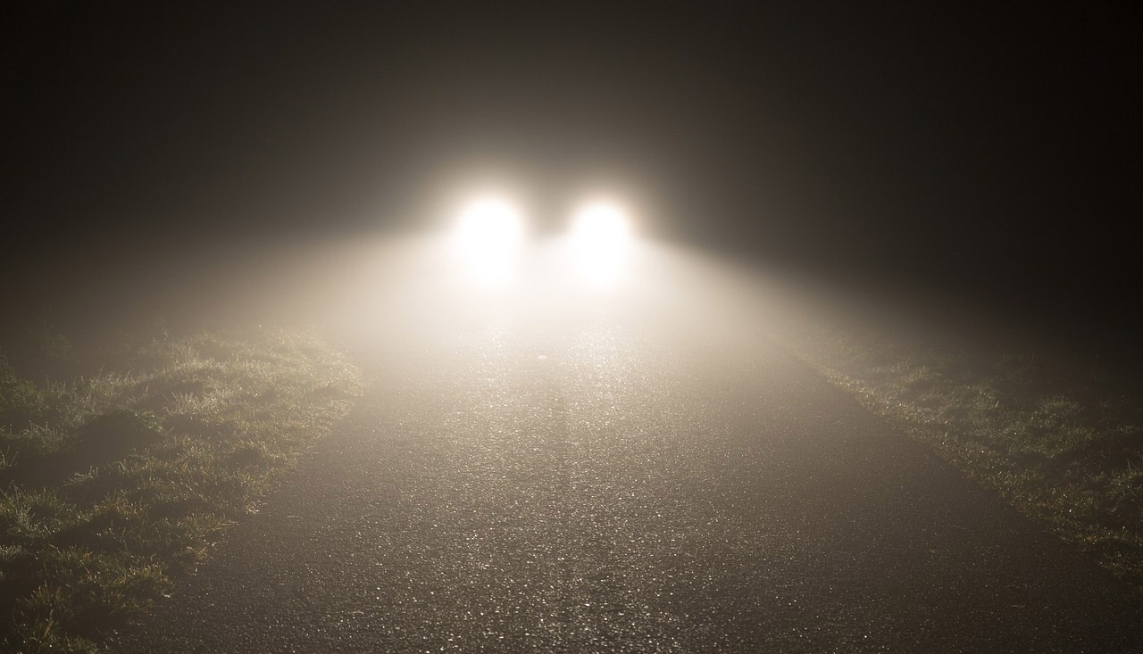 Blinding headlights at night