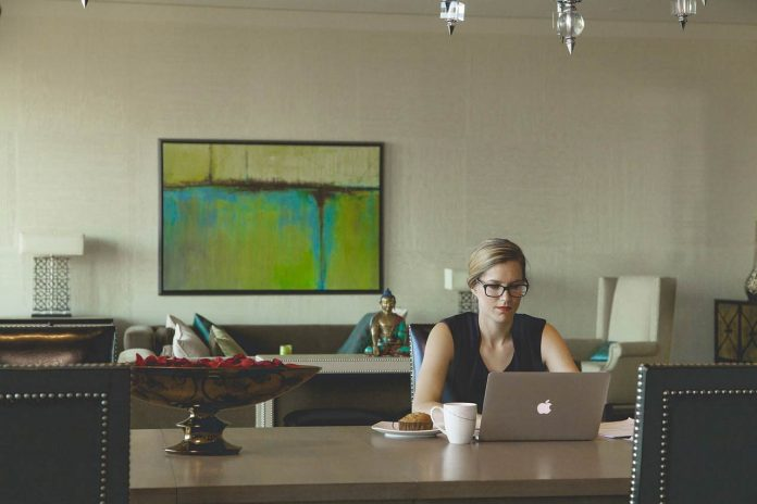 Woman with a desk job