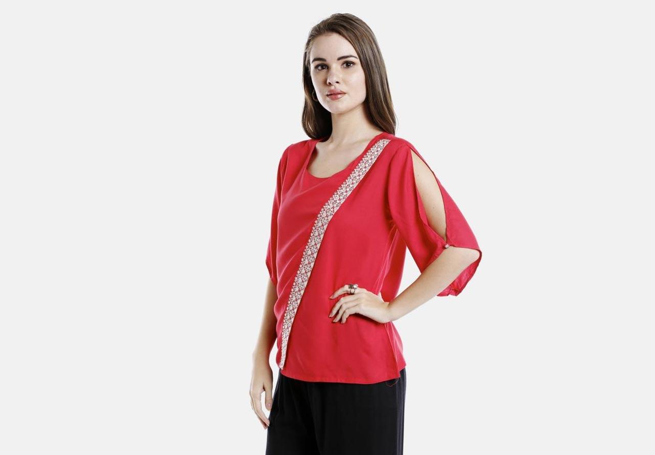 Girl in slit-up sleeves top