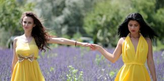 Girls in yellow dress