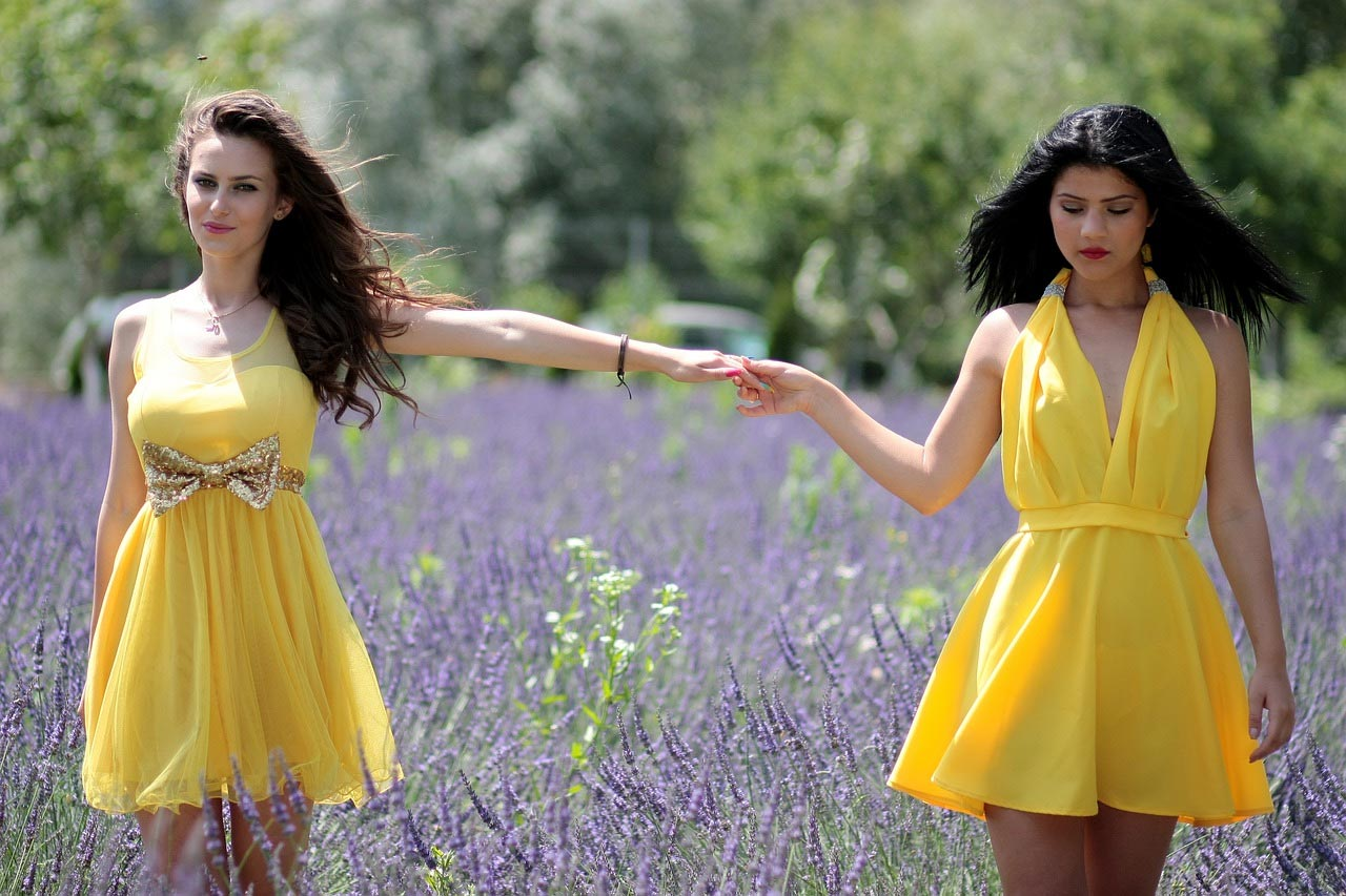 Girls in yellow dress