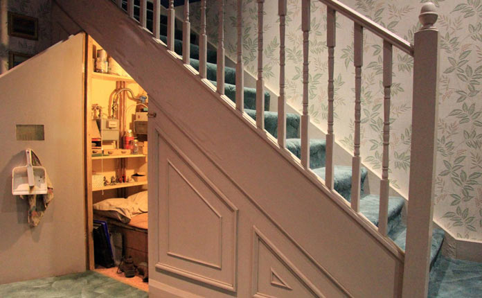 Storage space under stairs