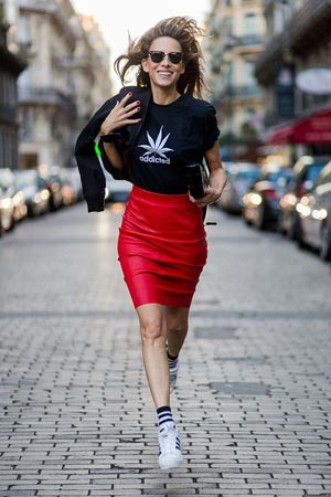 Graphic Tee with Pencil Skirt