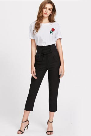 White T-shirt with High Waisted Pants
