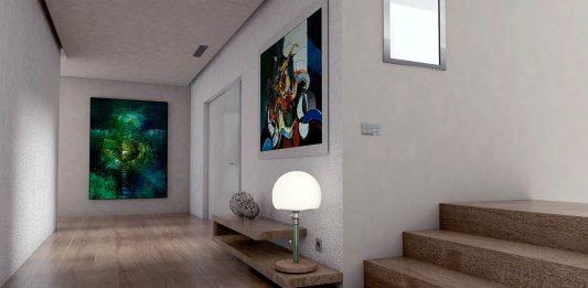 Hardwoord flooring and wall paintings