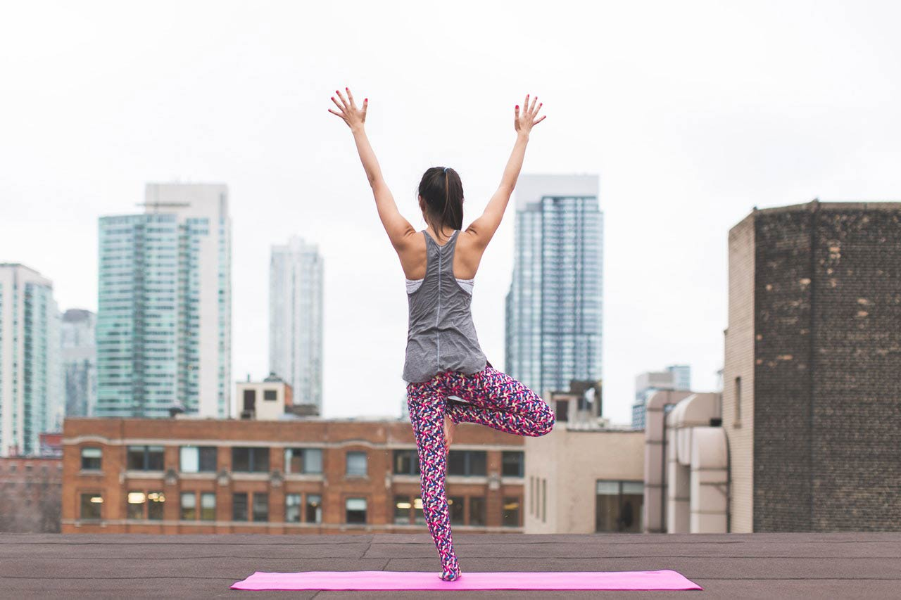 Yoga on building top