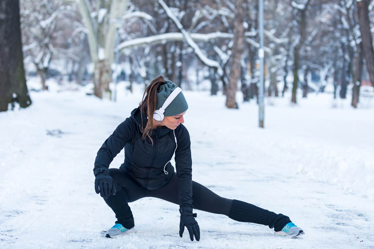 girl working out in winter