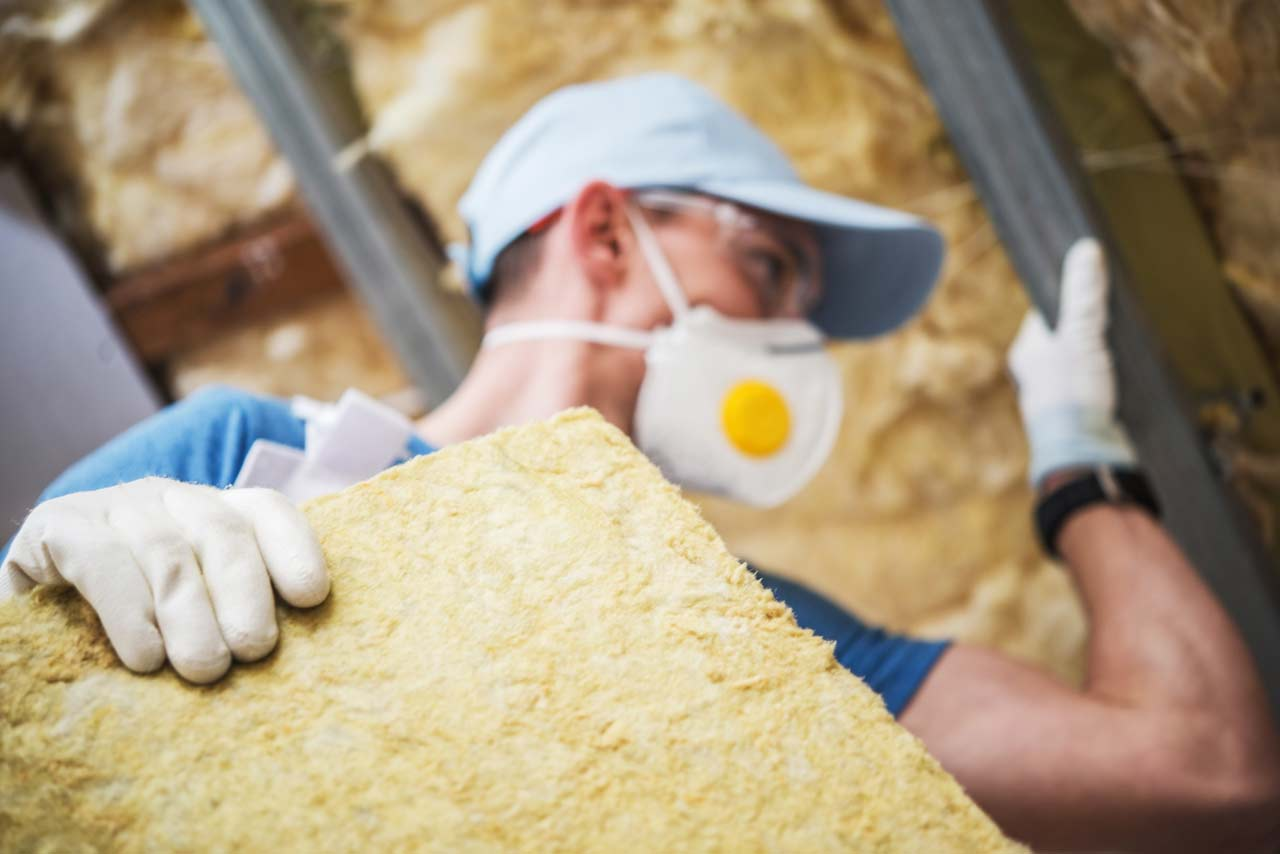 mineral rock wool insulating in attic