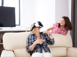 mother playing with daughter on VR