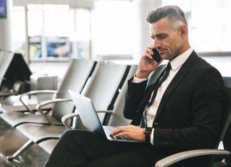 businessman waiting for flight