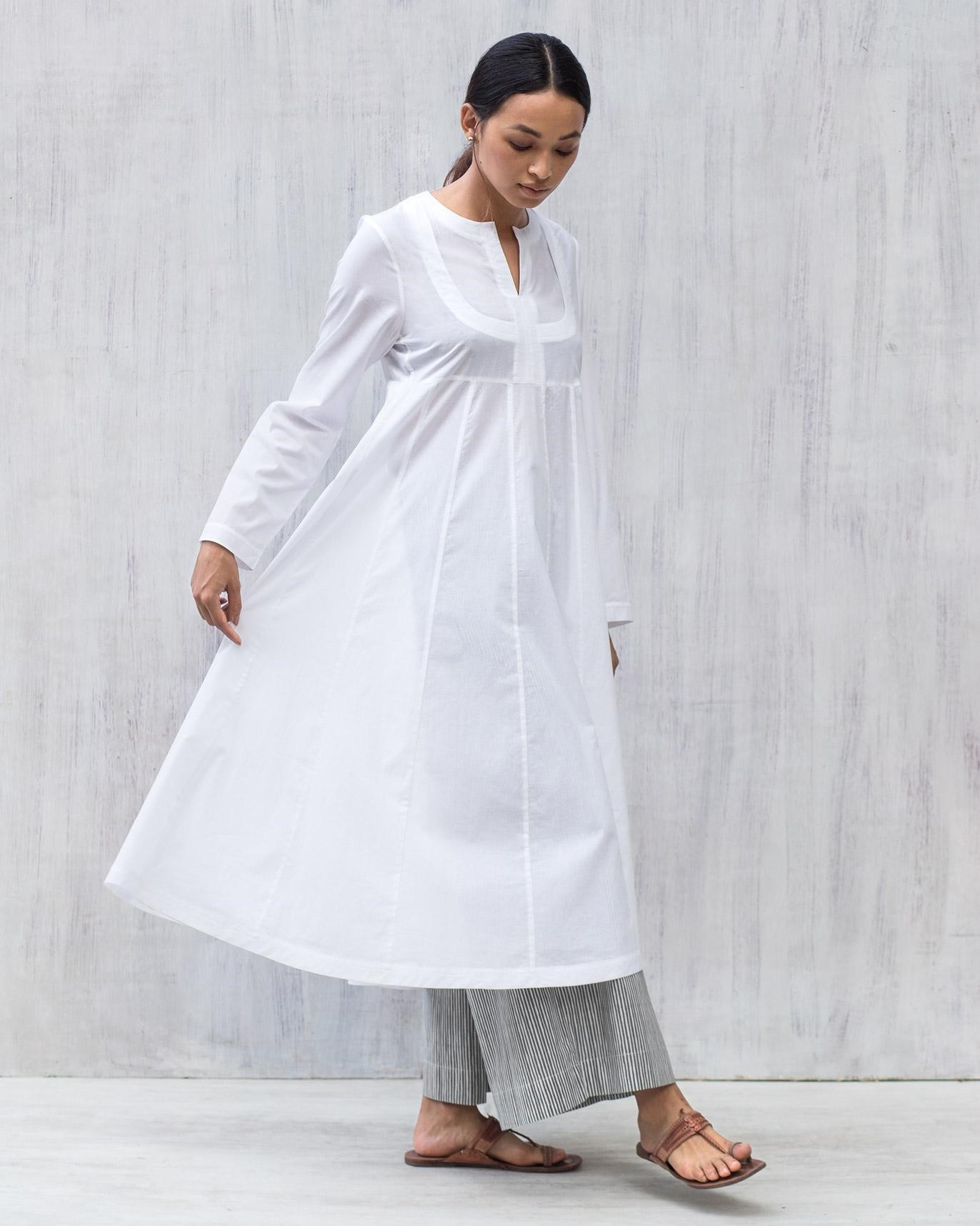 100% Organic Cotton Tisya Plain White Kurta