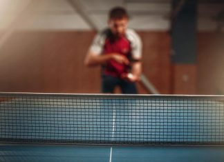 table tennis net selective focus