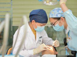 Dentist treating a kid