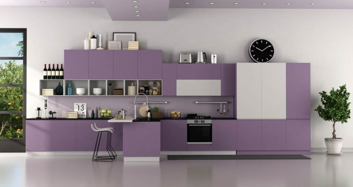 modern purple and white modern kitchen