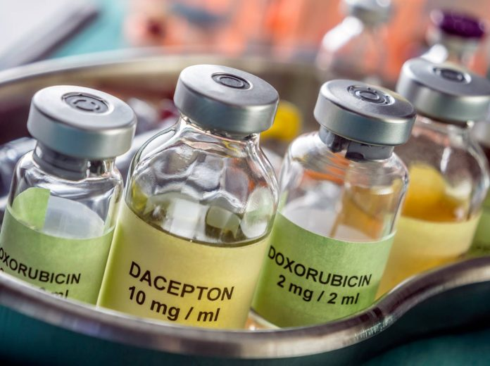Different chemotherapy vials with medication used for the cure of cancer