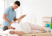 Senior rehabilitation with physiotherapist