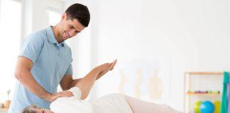 Senior rehabilitation with physiotherapist