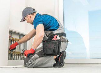 plumber checking residential floor heating