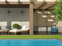 Garden with pergola and swimming pool