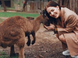 Girl with kangaroo