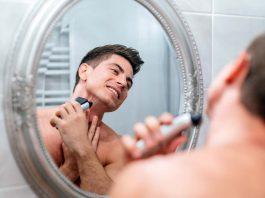 Man shaving in the morning