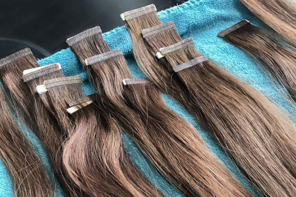 hair extensions on a tray