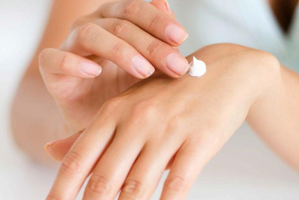 sunscreen application on skin